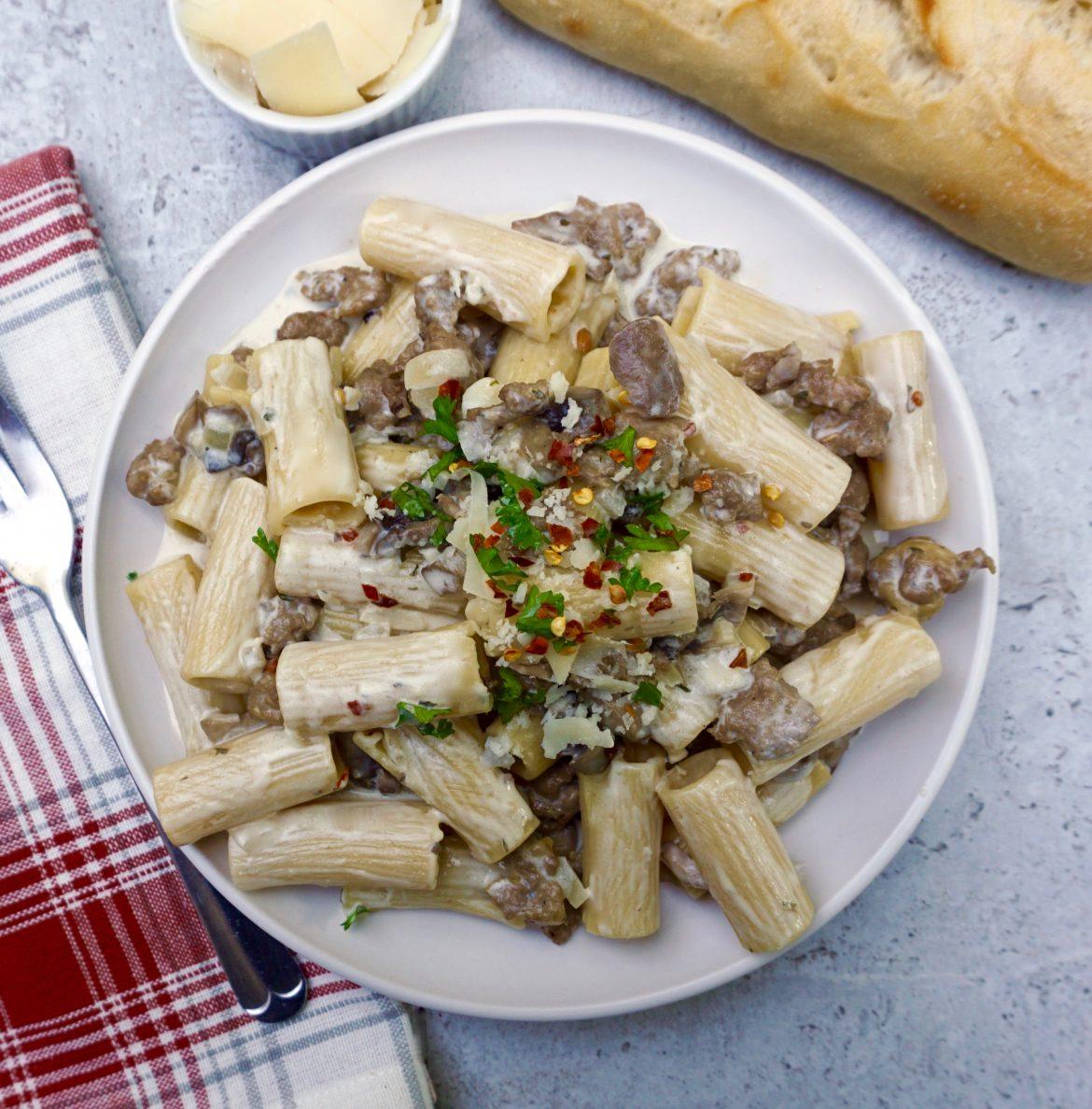 Creamy Mushroom Sausage Rigatoni