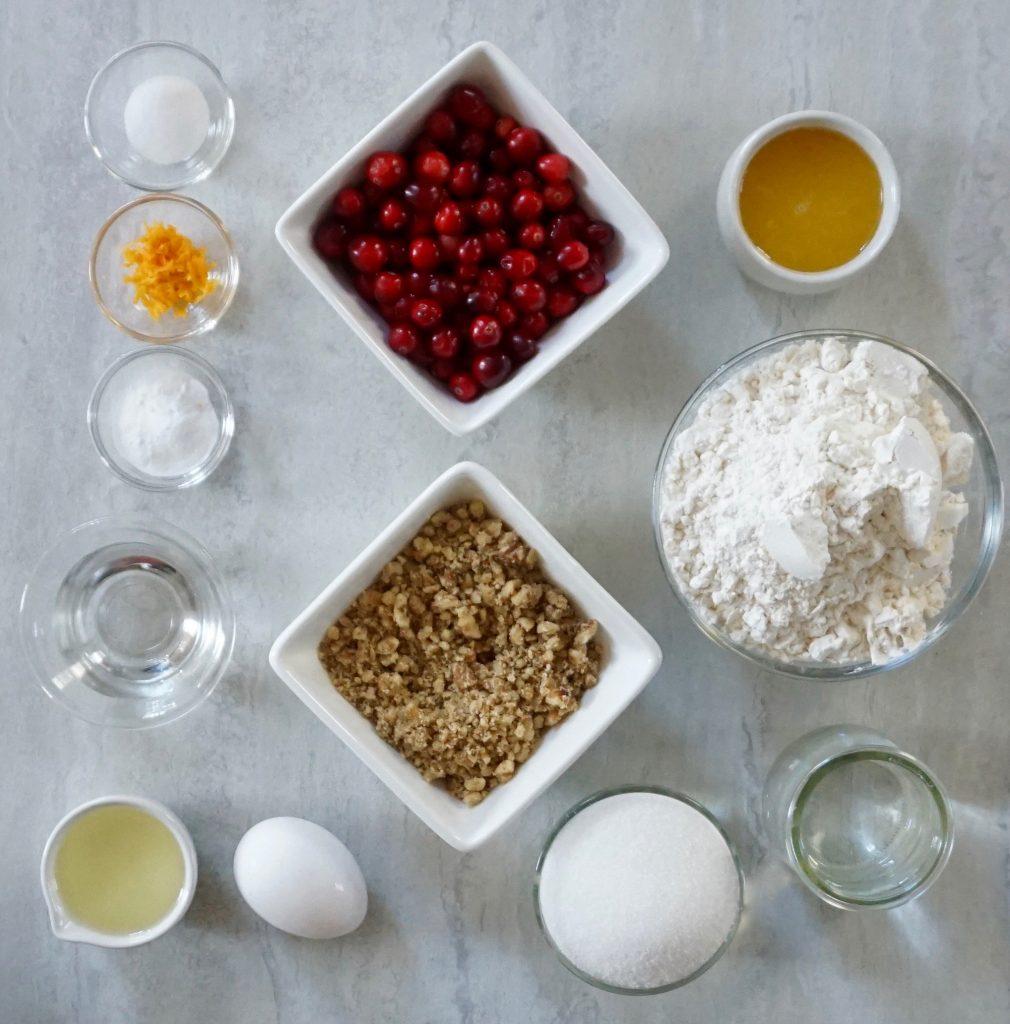 Cranberry Orange Walnut Bread ingredients