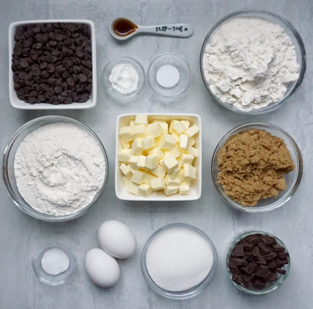 Chunky Chocolate Chip cookie ingredients