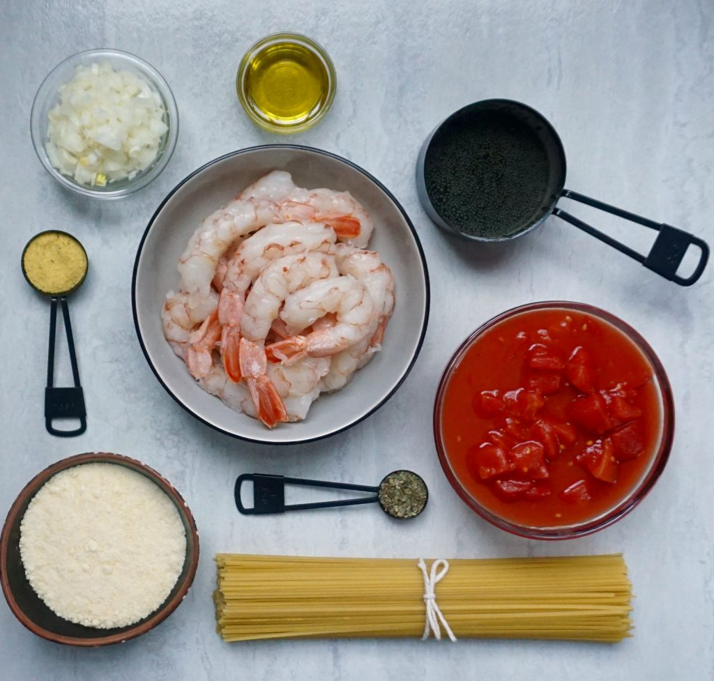Ingredients for Shrimp with Tomato Wine Sauce