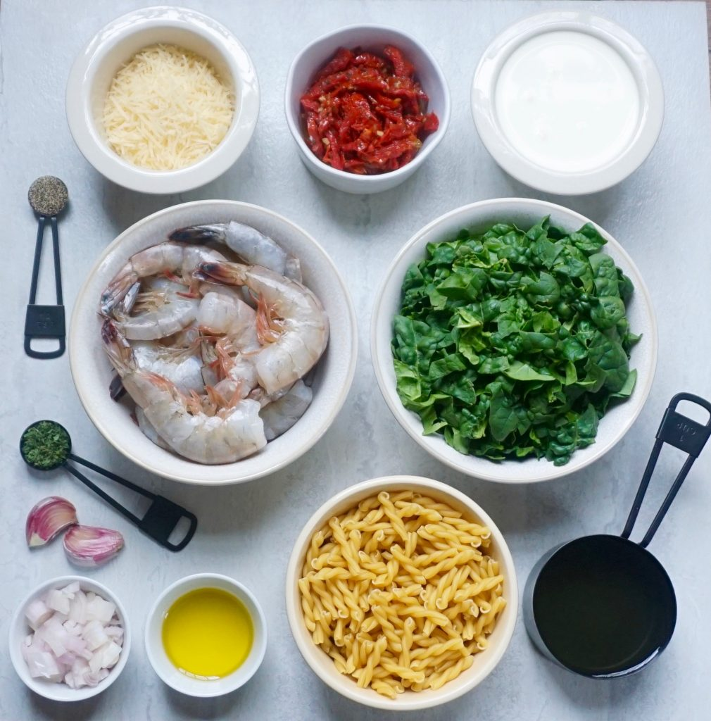 Creamy Shrimp Fusilli Ingredients