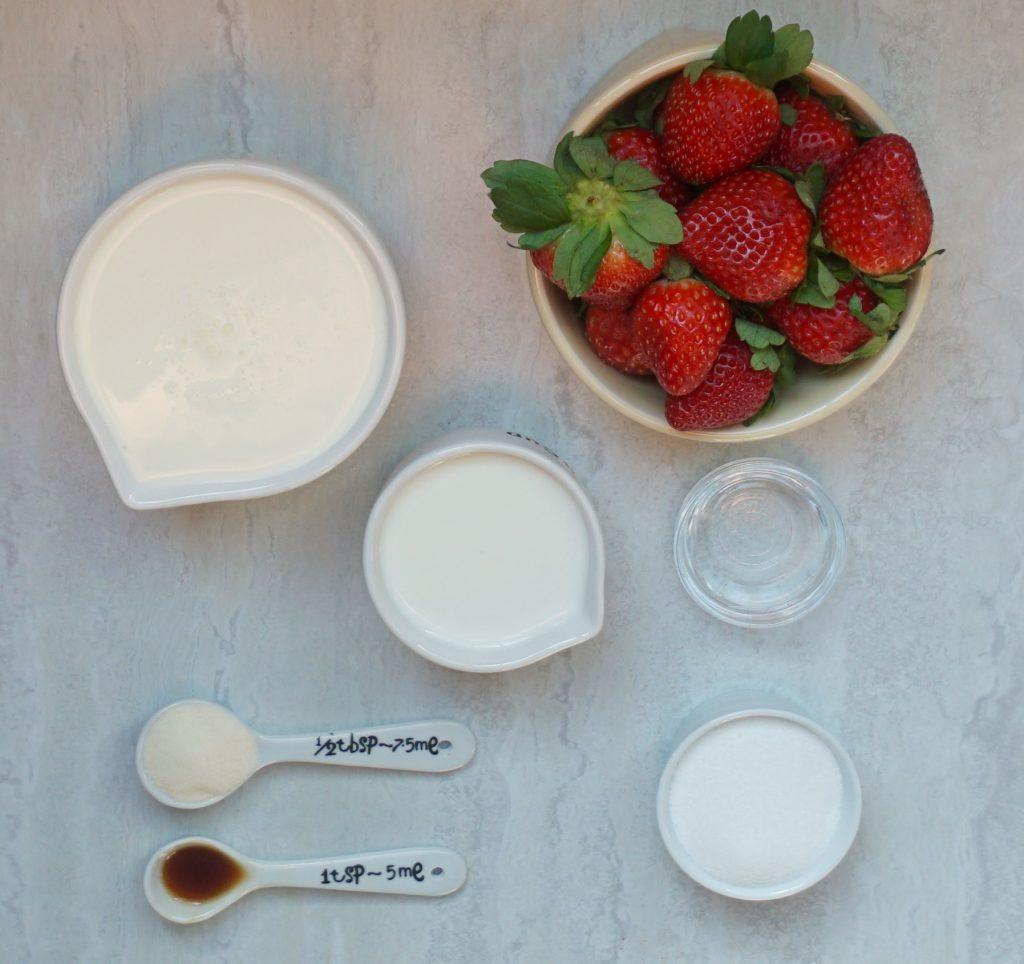 Strawberry Panna Cotta ingredients