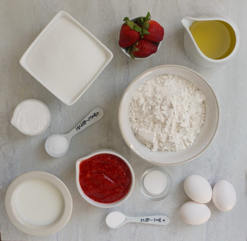 Strawberry Olive oil cake ingredients