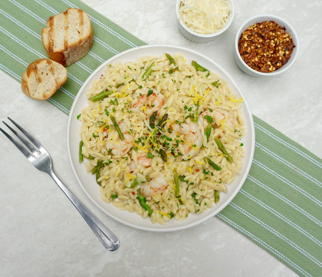 Lemon Shrimp Asparagus with Orzo
