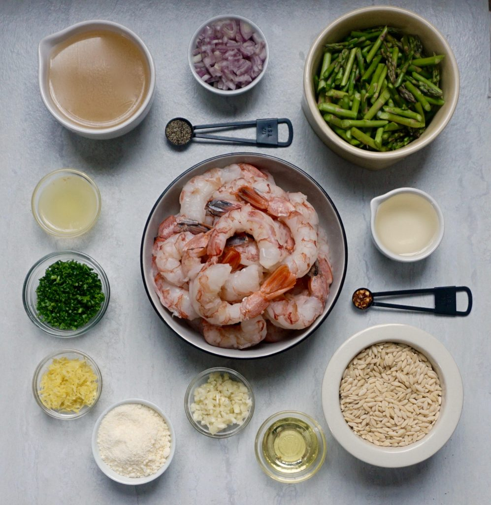Lemon Shrimp Orzo with Asparagus ingredients