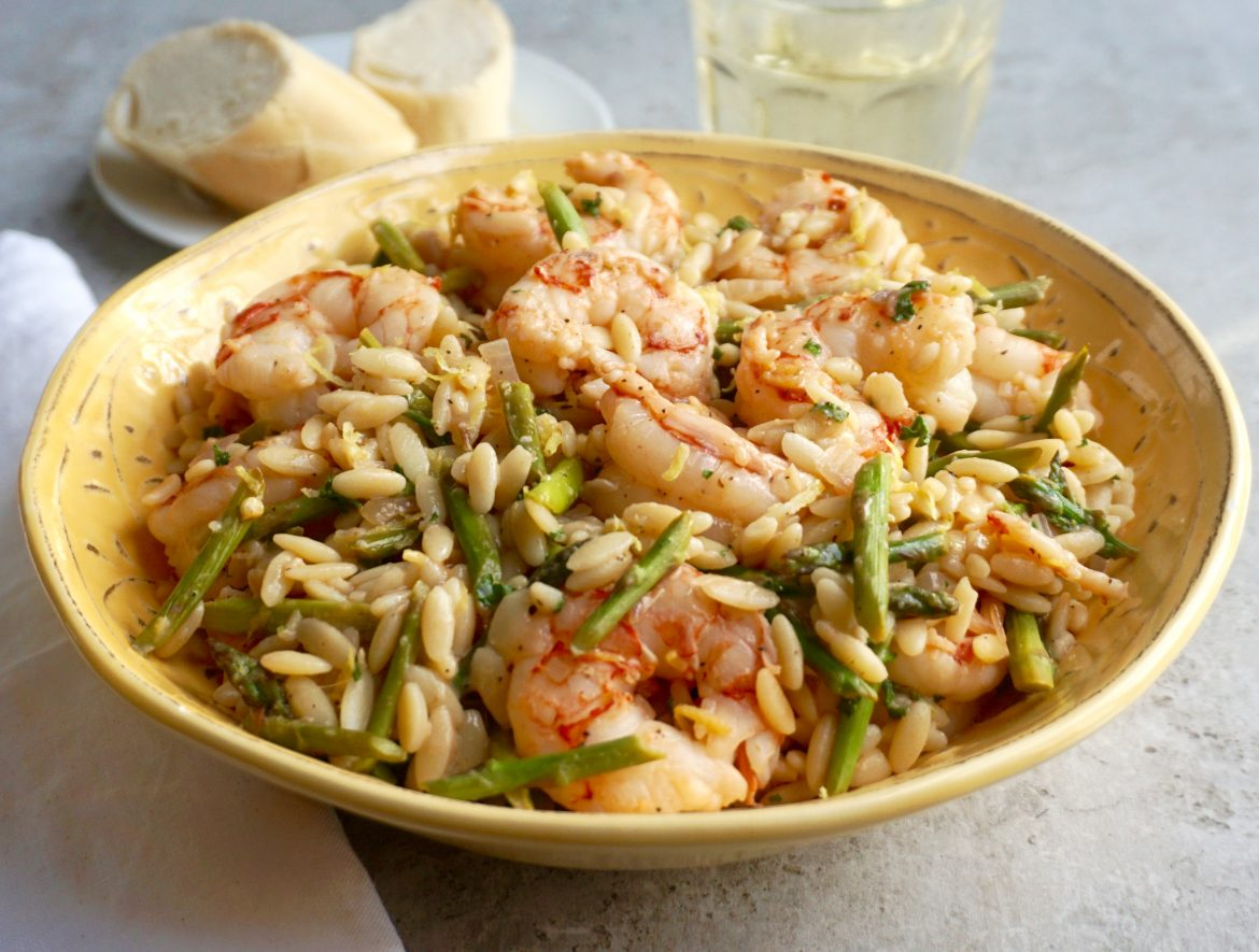Lemon Shrimp Orzo with Asparagus