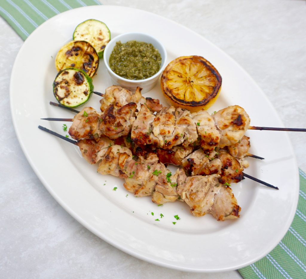 Lemon Yogurt Chicken Kabobs with Chimichurri Sauce