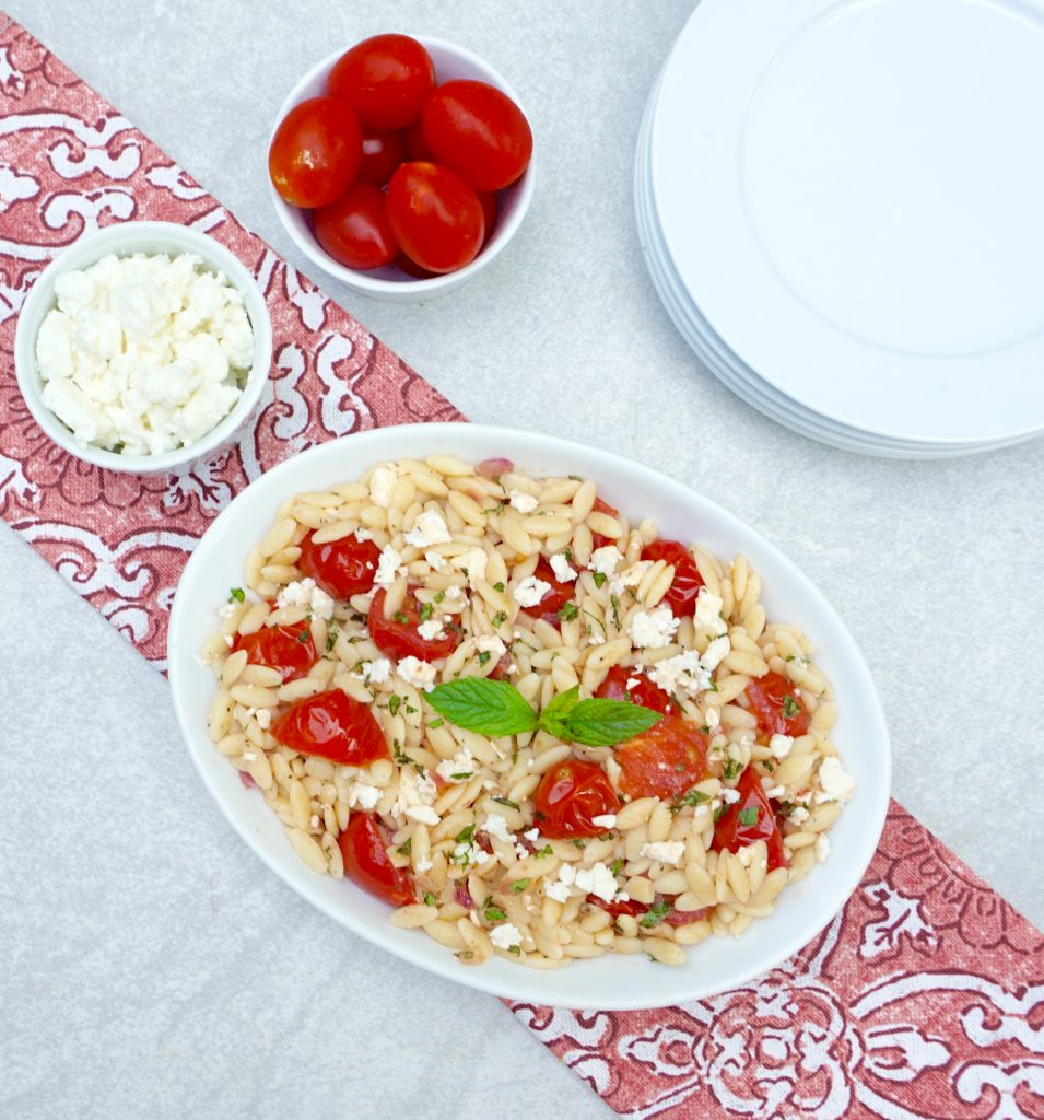 Orzo with Tomato Mint and Feta