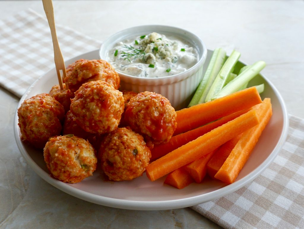 Buffalo Chicken Meatballs with Blue Cheese Ranch Dip