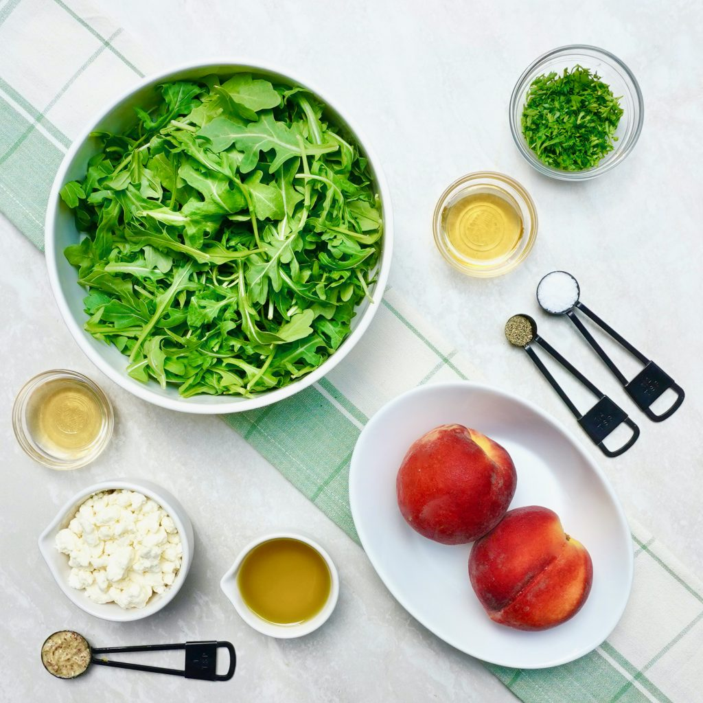 Feta Peach Arugula Salad